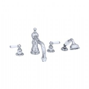3745 Perrin & Rowe Four Hole Bath Tap Set With Country Spout Lever